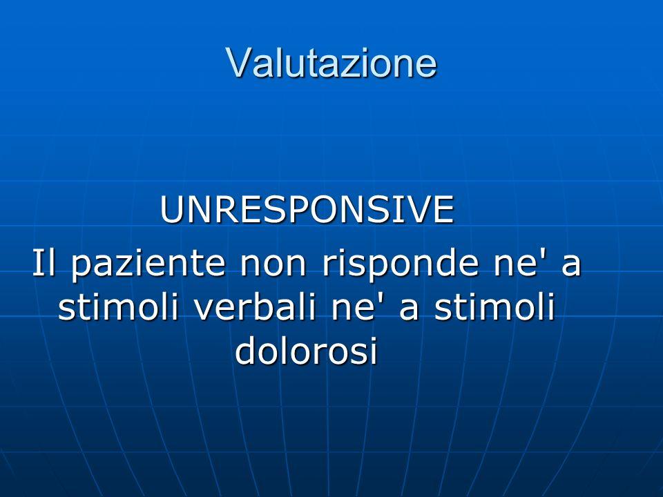 Valutazione UNRESPONSIVE Il paziente non risponde ne a stimoli verbali ne a stimoli dolorosi