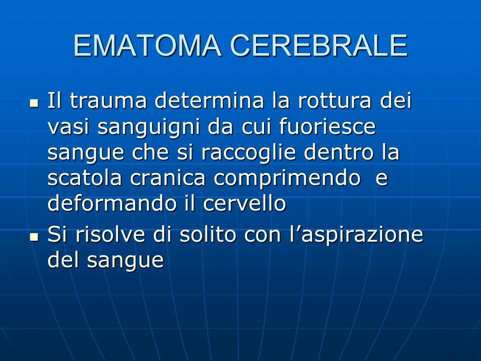 EMATOMA CEREBRALE Il trauma determina la rottura dei vasi sanguigni da cui fuoriesce sangue che si raccoglie dentro la scatola cranica comprimendo e deformando il cervello Il trauma determina la rottura dei vasi sanguigni da cui fuoriesce sangue che si raccoglie dentro la scatola cranica comprimendo e deformando il cervello Si risolve di solito con laspirazione del sangue Si risolve di solito con laspirazione del sangue