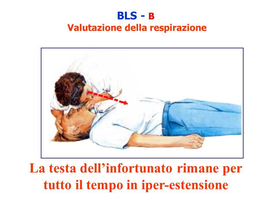 BLS - B Valutazione della respirazione La testa dellinfortunato rimane per tutto il tempo in iper-estensione