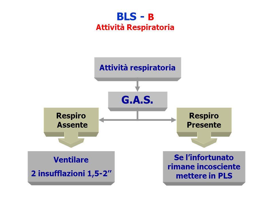 BLS - B Attività Respiratoria Attività respiratoria G.A.S. Respiro Assente Respiro Presente Ventilare 2 insufflazioni 1,5-2 Se linfortunato rimane inc