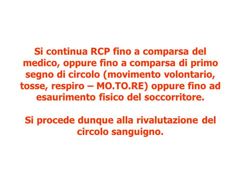 Si continua RCP fino a comparsa del medico, oppure fino a comparsa di primo segno di circolo (movimento volontario, tosse, respiro – MO.TO.RE) oppure