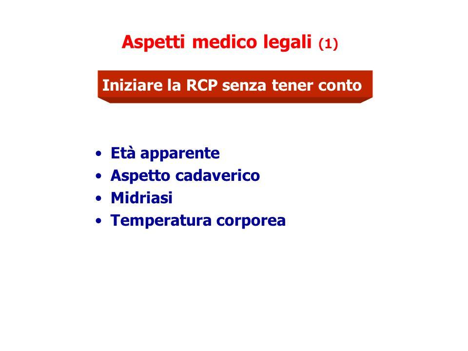Aspetti medico legali (1) Età apparente Aspetto cadaverico Midriasi Temperatura corporea Iniziare la RCP senza tener conto