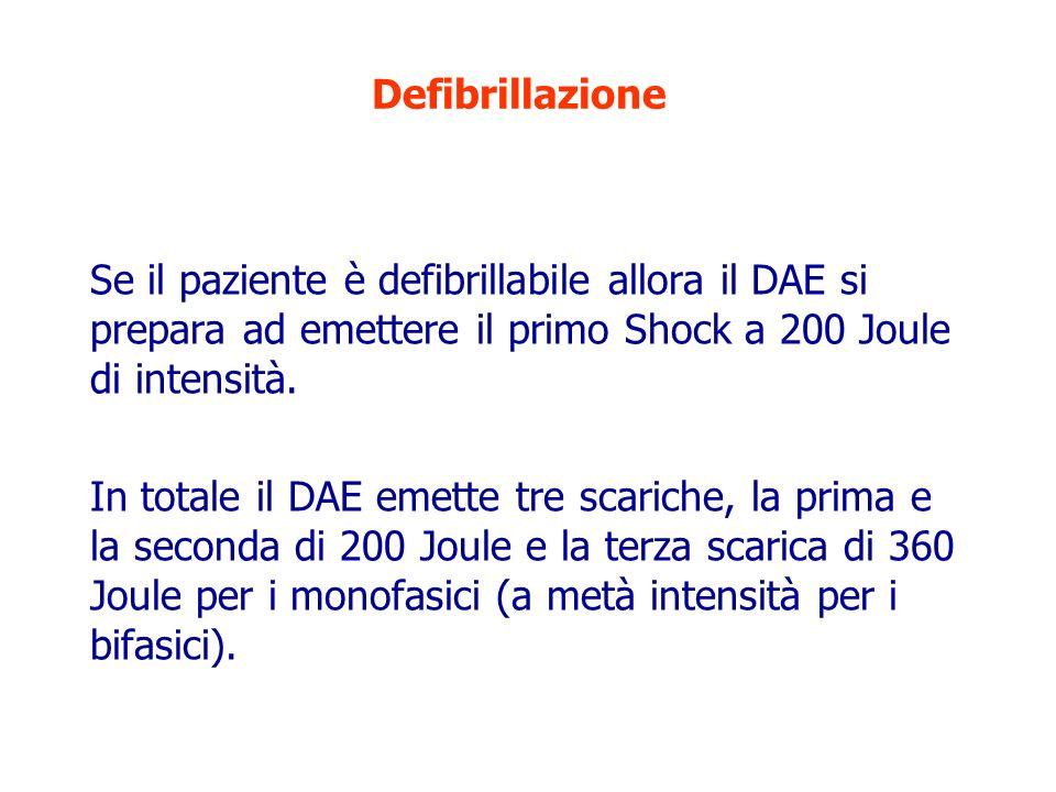 Defibrillazione Se il paziente è defibrillabile allora il DAE si prepara ad emettere il primo Shock a 200 Joule di intensità. In totale il DAE emette