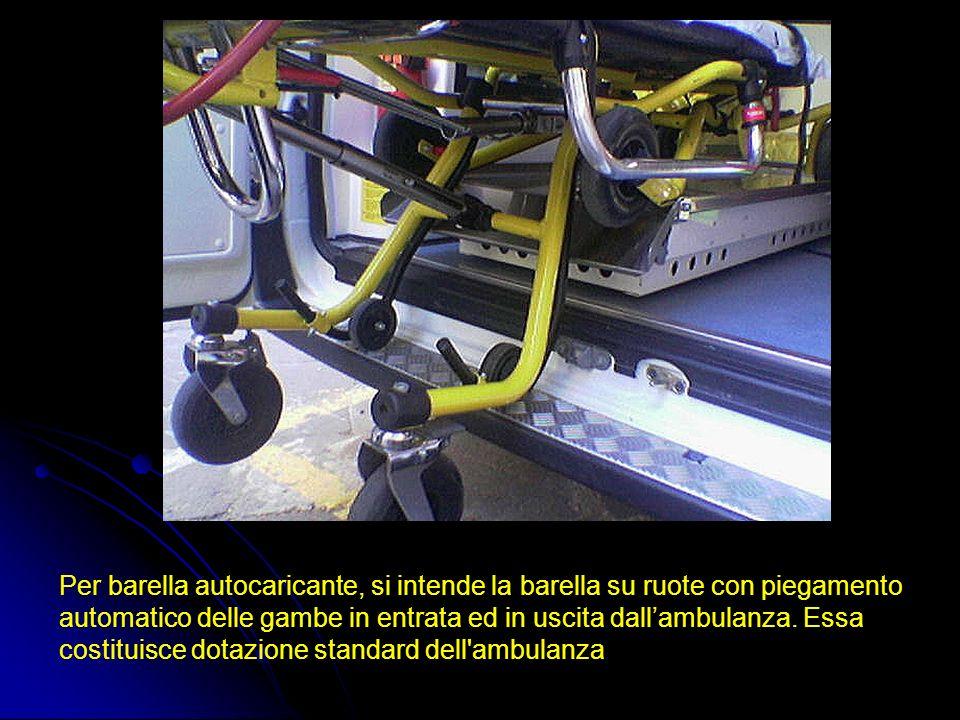 Per barella autocaricante, si intende la barella su ruote con piegamento automatico delle gambe in entrata ed in uscita dallambulanza. Essa costituisc