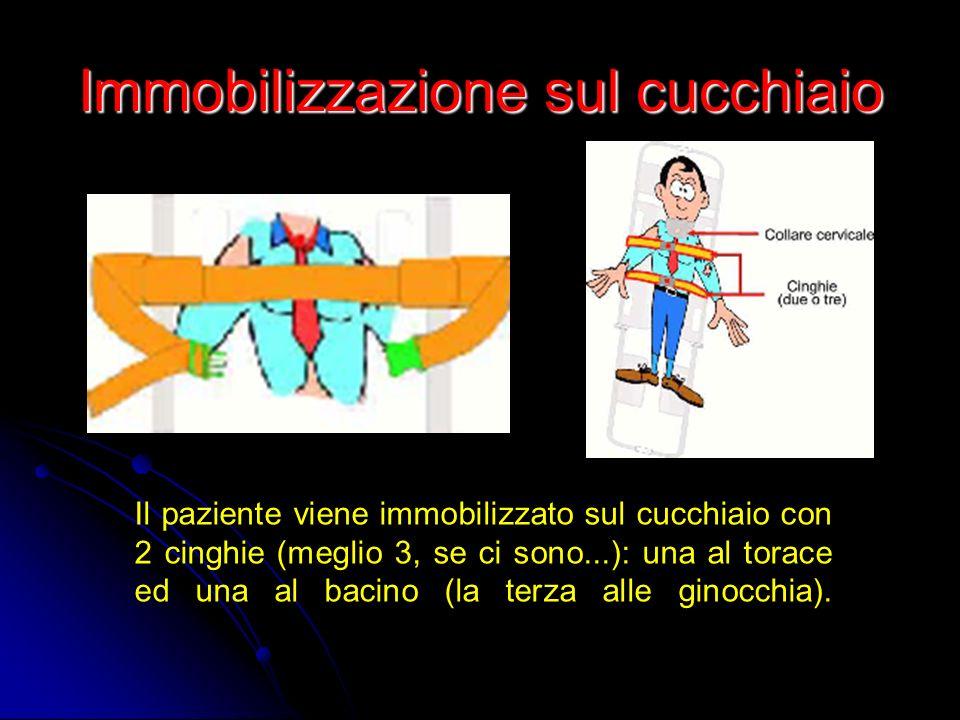 Immobilizzazione sul cucchiaio Il paziente viene immobilizzato sul cucchiaio con 2 cinghie (meglio 3, se ci sono...): una al torace ed una al bacino (