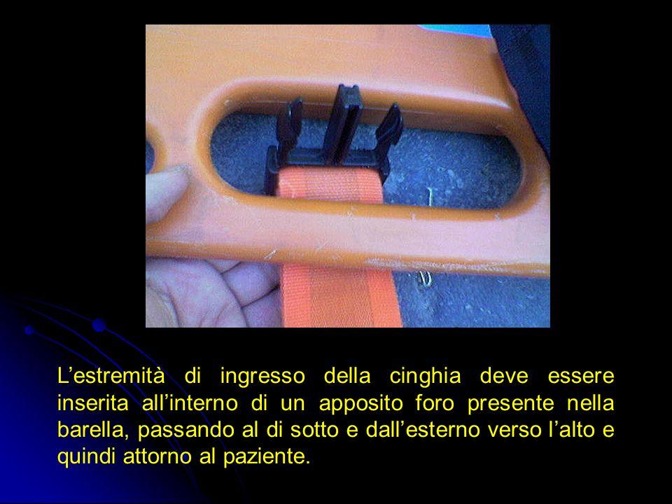 Lestremità di ingresso della cinghia deve essere inserita allinterno di un apposito foro presente nella barella, passando al di sotto e dallesterno ve