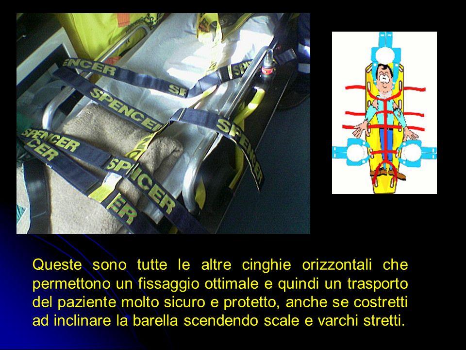 Queste sono tutte le altre cinghie orizzontali che permettono un fissaggio ottimale e quindi un trasporto del paziente molto sicuro e protetto, anche