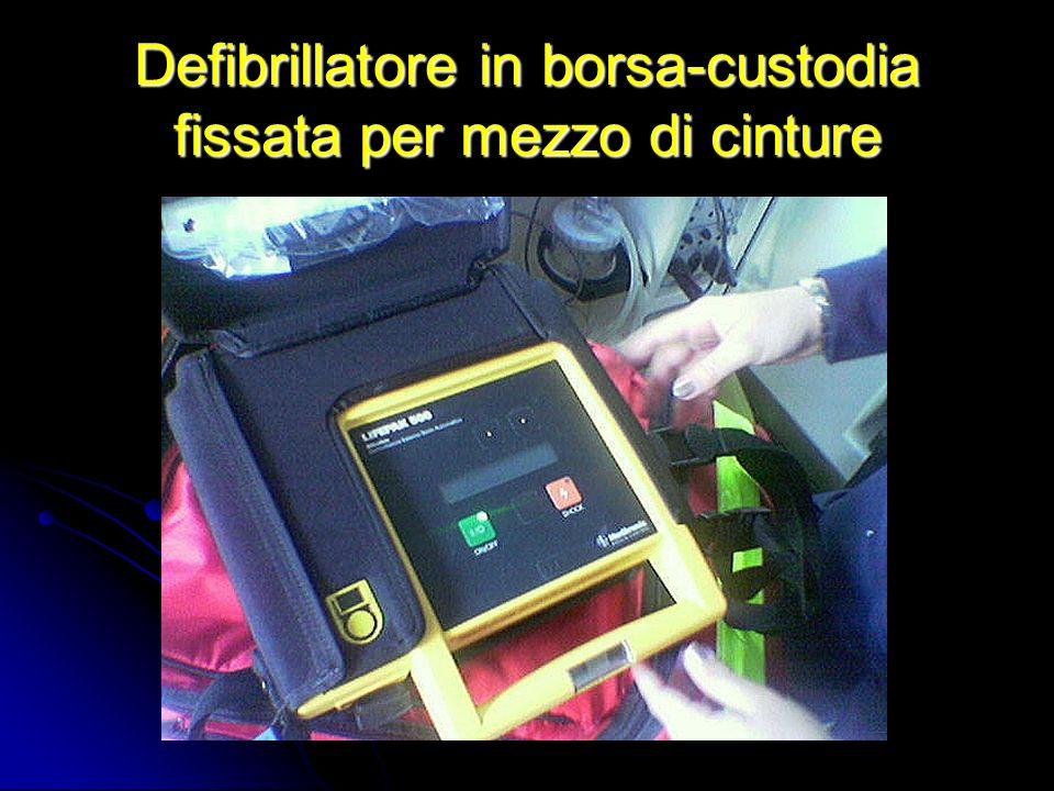 Defibrillatore in borsa-custodia fissata per mezzo di cinture