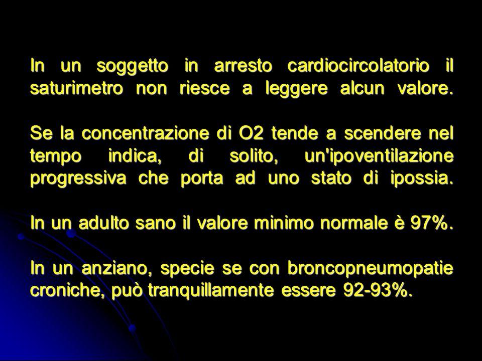 In un soggetto in arresto cardiocircolatorio il saturimetro non riesce a leggere alcun valore. Se la concentrazione di O2 tende a scendere nel tempo i