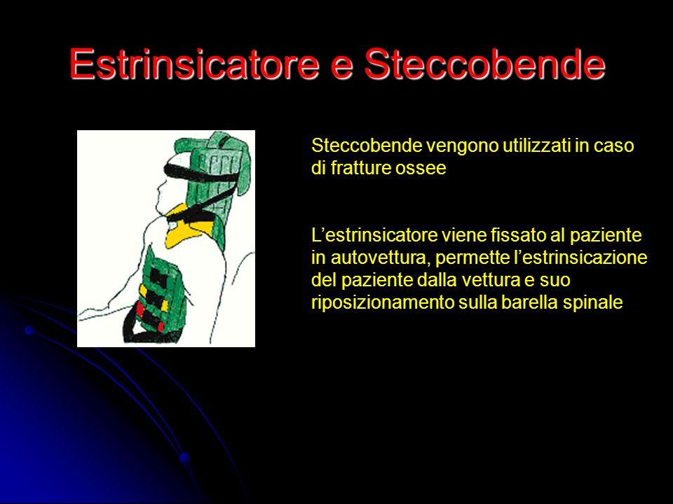 Estrinsicatore e Steccobende Steccobende vengono utilizzati in caso di fratture ossee Lestrinsicatore viene fissato al paziente in autovettura, permet