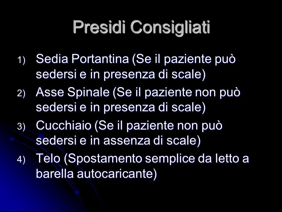 Presidi Consigliati 1) Sedia Portantina (Se il paziente può sedersi e in presenza di scale) 2) Asse Spinale (Se il paziente non può sedersi e in prese