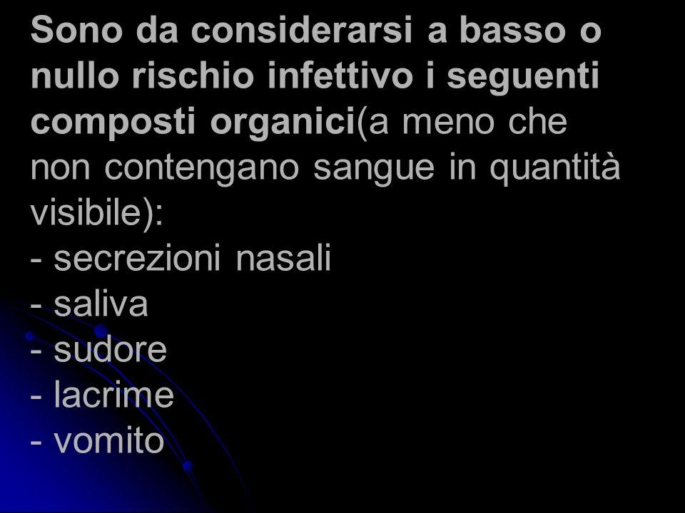 Sono da considerarsi a basso o nullo rischio infettivo i seguenti composti organici(a meno che non contengano sangue in quantità visibile): - secrezio