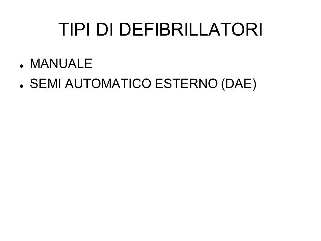 TIPI DI DEFIBRILLATORI MANUALE SEMI AUTOMATICO ESTERNO (DAE)