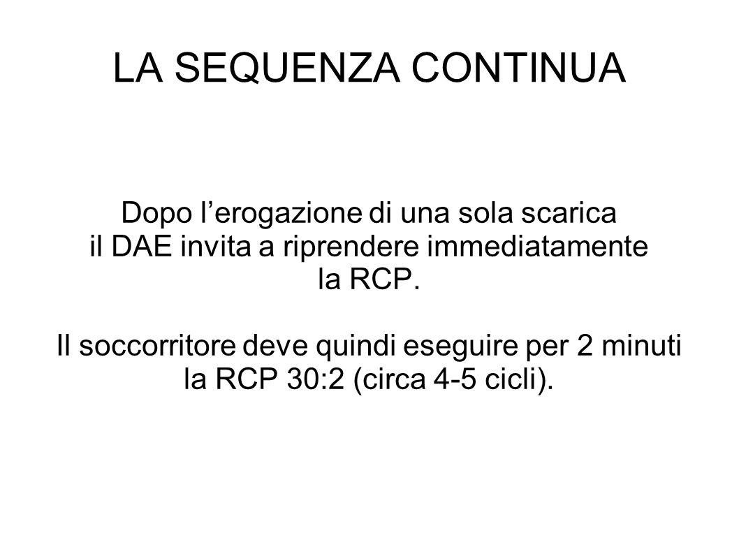LA SEQUENZA CONTINUA Dopo lerogazione di una sola scarica il DAE invita a riprendere immediatamente la RCP.
