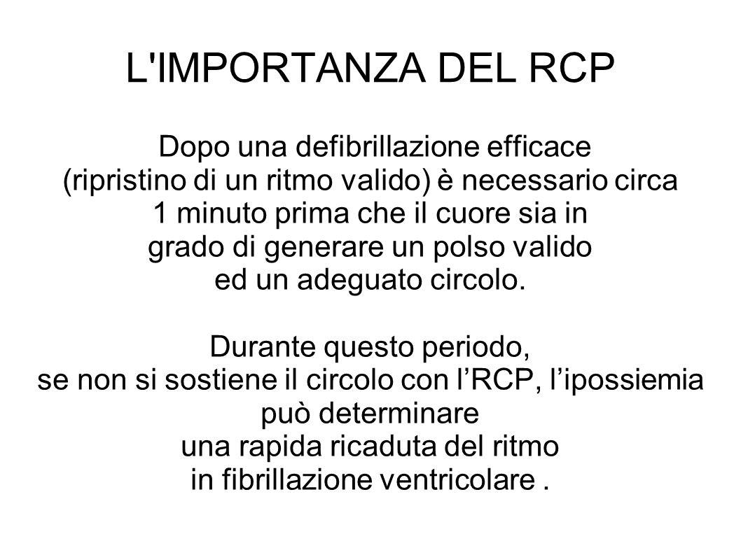 L IMPORTANZA DEL RCP Dopo una defibrillazione efficace (ripristino di un ritmo valido) è necessario circa 1 minuto prima che il cuore sia in grado di generare un polso valido ed un adeguato circolo.