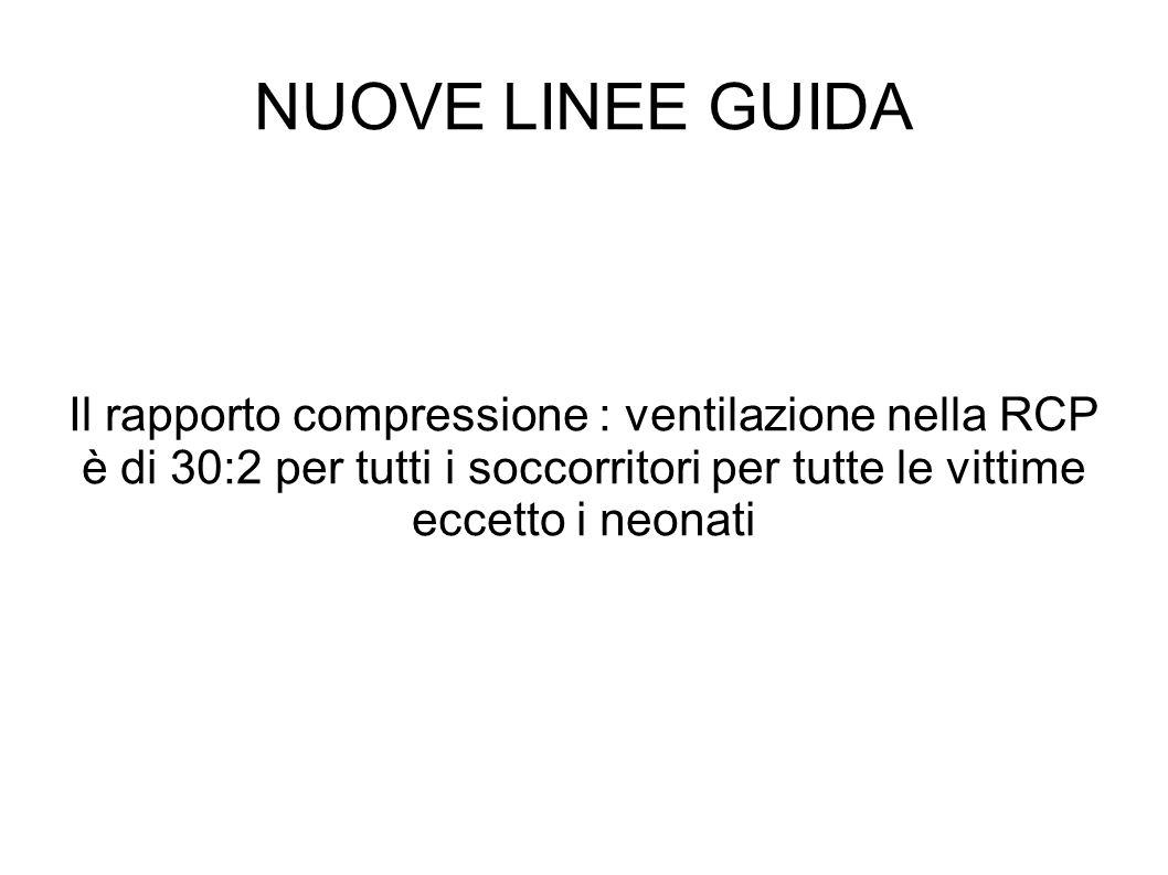 Il rapporto compressione : ventilazione nella RCP è di 30:2 per tutti i soccorritori per tutte le vittime eccetto i neonati NUOVE LINEE GUIDA
