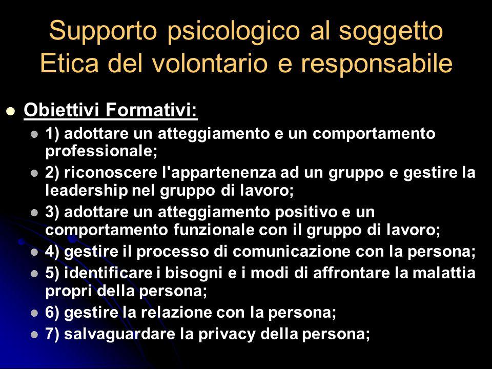 Supporto psicologico al soggetto Etica del volontario e responsabile Obiettivi Formativi: 1) adottare un atteggiamento e un comportamento professional
