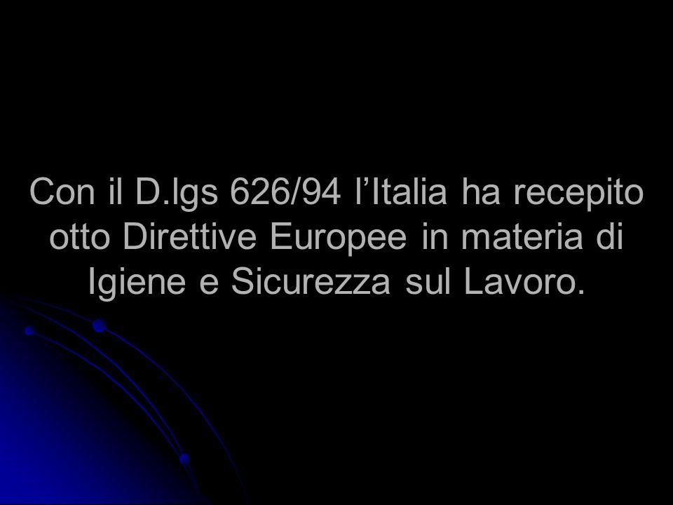 Con il D.lgs 626/94 lItalia ha recepito otto Direttive Europee in materia di Igiene e Sicurezza sul Lavoro.