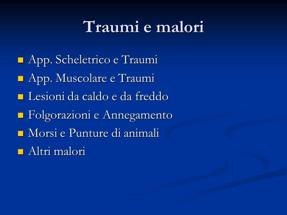 Traumi e malori App. Scheletrico e Traumi App. Scheletrico e Traumi App. Muscolare e Traumi App. Muscolare e Traumi Lesioni da caldo e da freddo Lesio