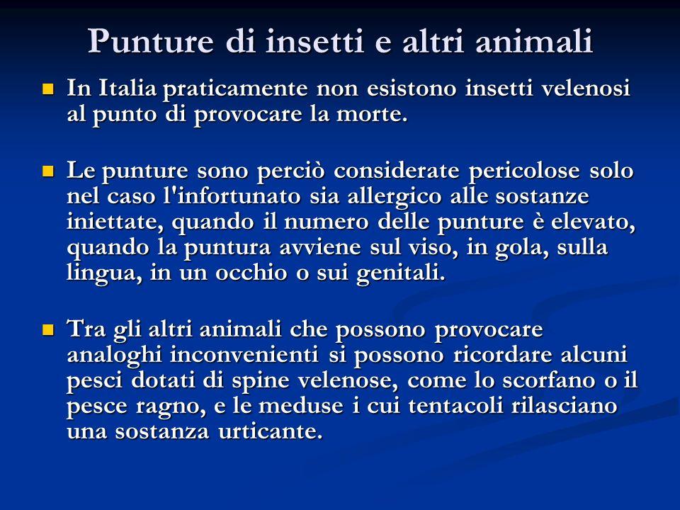 Punture di insetti e altri animali In Italia praticamente non esistono insetti velenosi al punto di provocare la morte. In Italia praticamente non esi