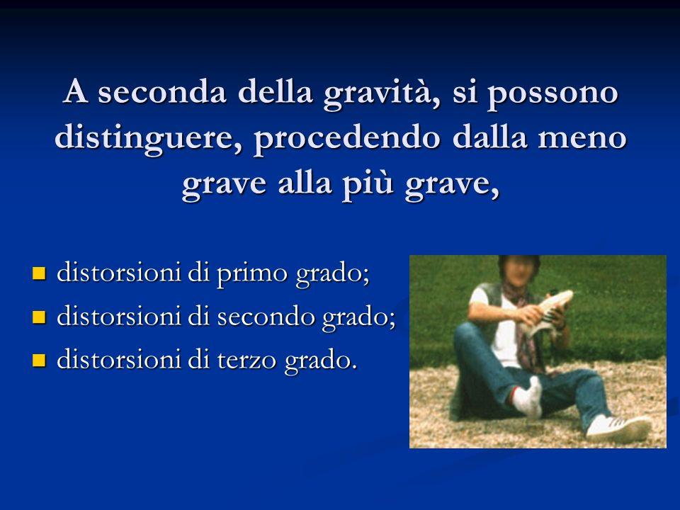 A seconda della gravità, si possono distinguere, procedendo dalla meno grave alla più grave, distorsioni di primo grado; distorsioni di primo grado; d