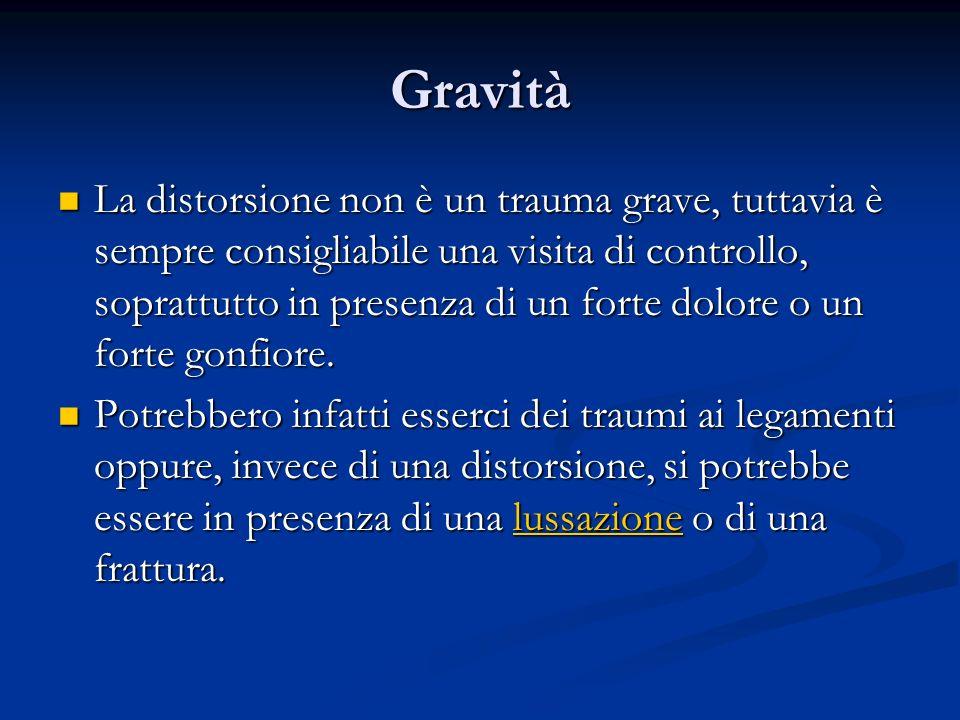 Gravità La distorsione non è un trauma grave, tuttavia è sempre consigliabile una visita di controllo, soprattutto in presenza di un forte dolore o un