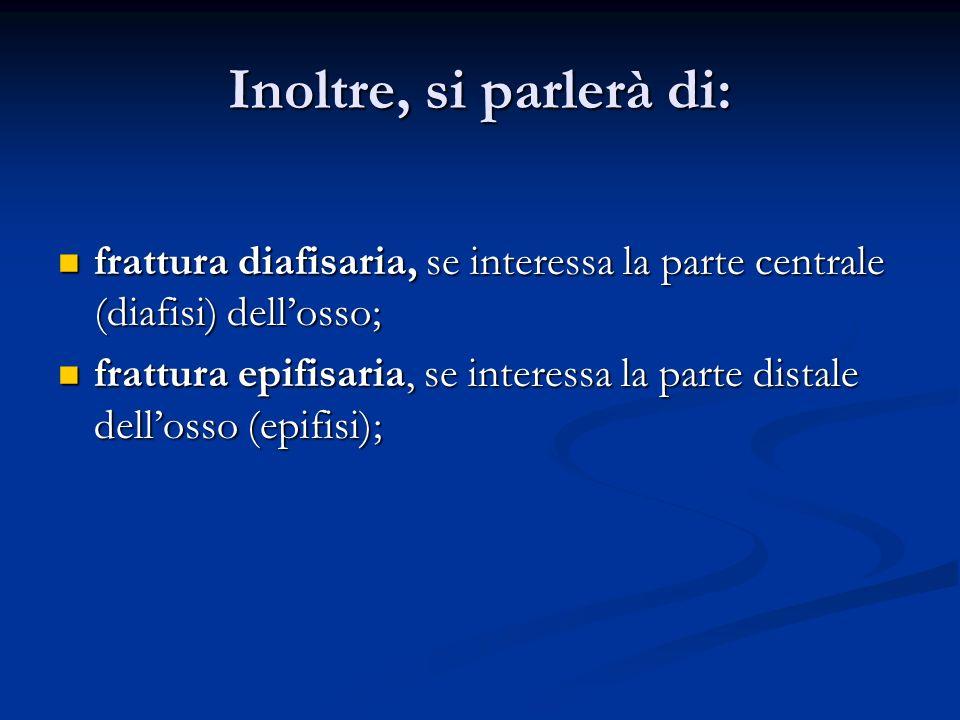 Inoltre, si parlerà di: frattura diafisaria, se interessa la parte centrale (diafisi) dellosso; frattura diafisaria, se interessa la parte centrale (d