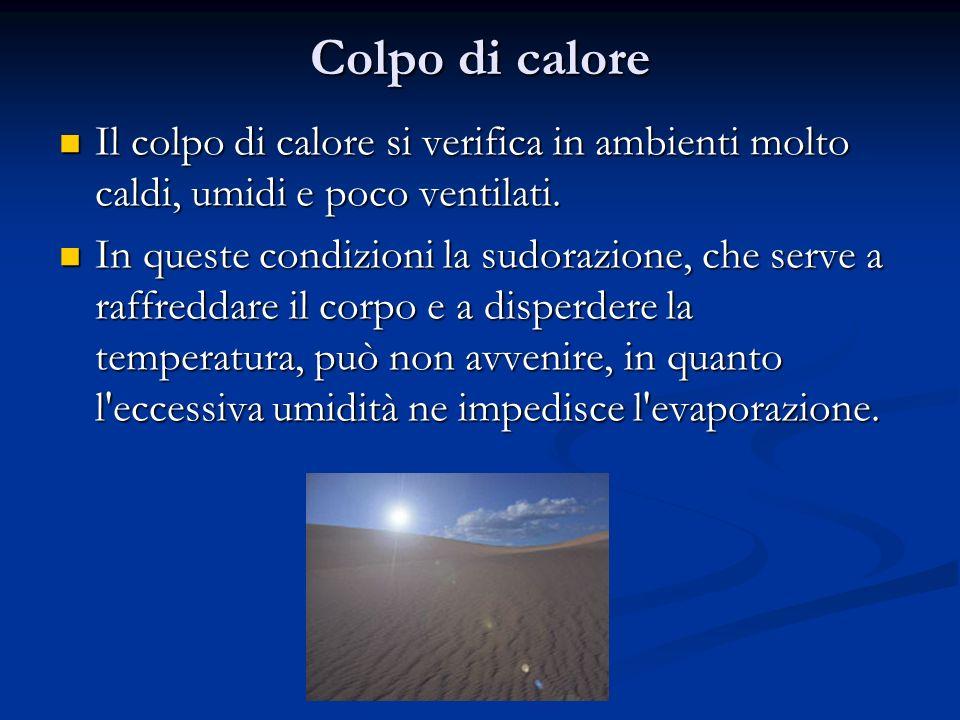 Colpo di calore Il colpo di calore si verifica in ambienti molto caldi, umidi e poco ventilati. Il colpo di calore si verifica in ambienti molto caldi