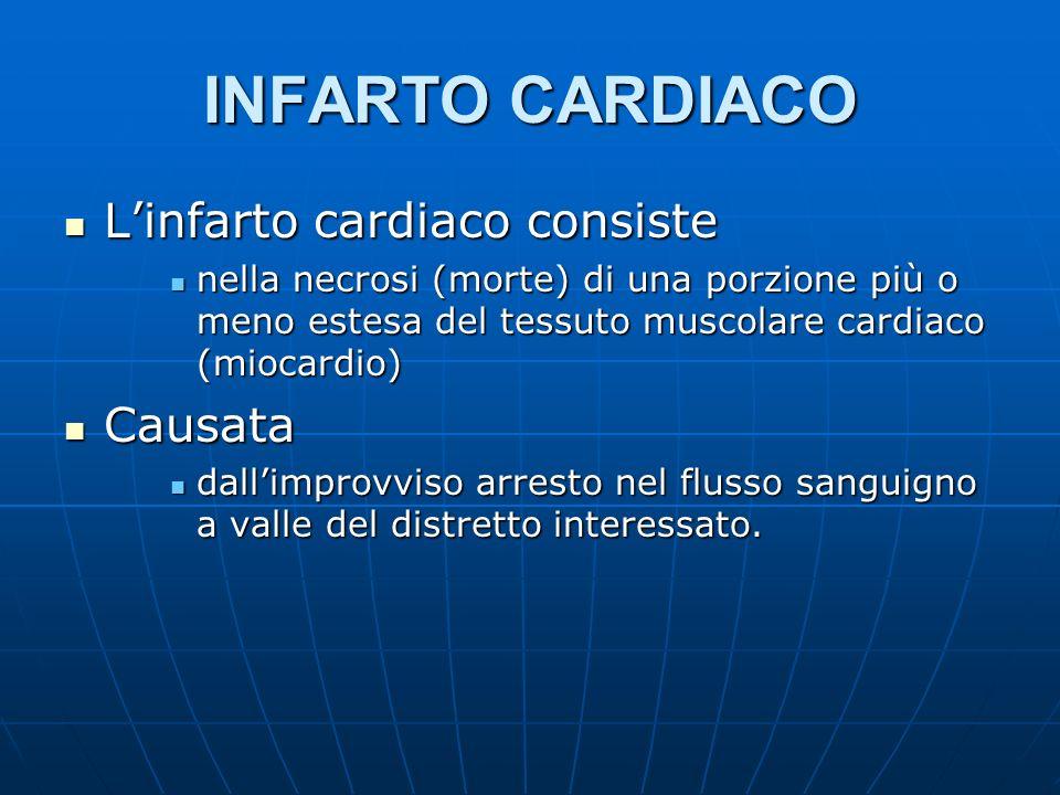 INFARTO CARDIACO Linfarto cardiaco consiste Linfarto cardiaco consiste nella necrosi (morte) di una porzione più o meno estesa del tessuto muscolare cardiaco (miocardio) nella necrosi (morte) di una porzione più o meno estesa del tessuto muscolare cardiaco (miocardio) Causata Causata dallimprovviso arresto nel flusso sanguigno a valle del distretto interessato.