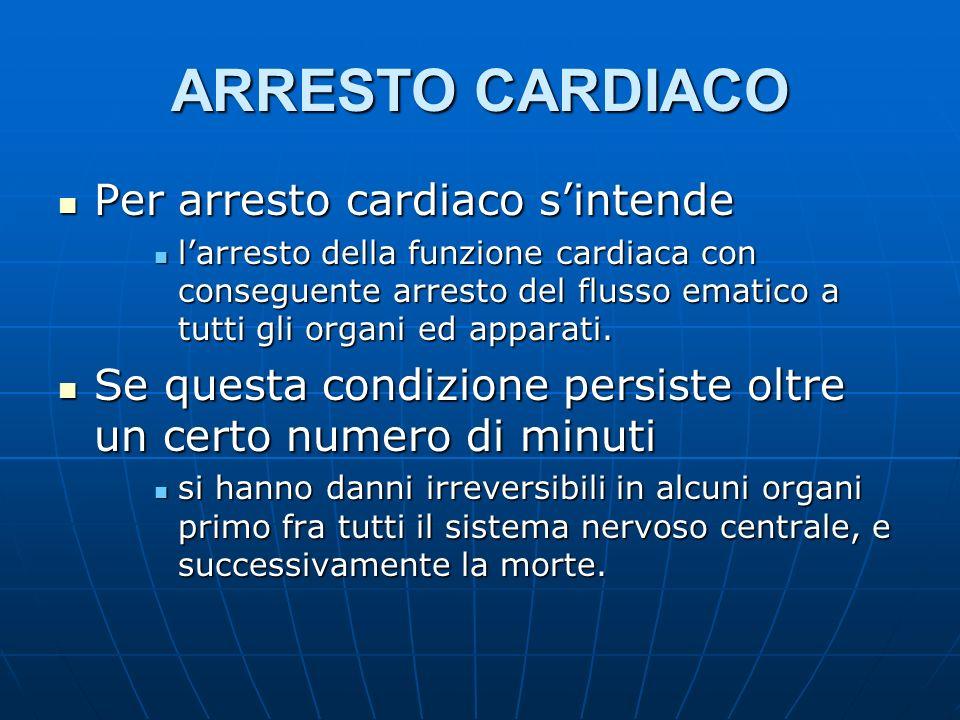 ARRESTO CARDIACO Per arresto cardiaco sintende Per arresto cardiaco sintende larresto della funzione cardiaca con conseguente arresto del flusso ematico a tutti gli organi ed apparati.