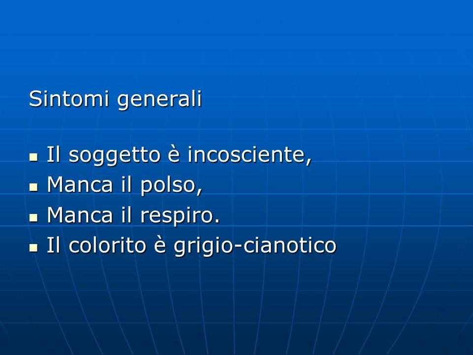 Sintomi generali Il soggetto è incosciente, Il soggetto è incosciente, Manca il polso, Manca il polso, Manca il respiro.
