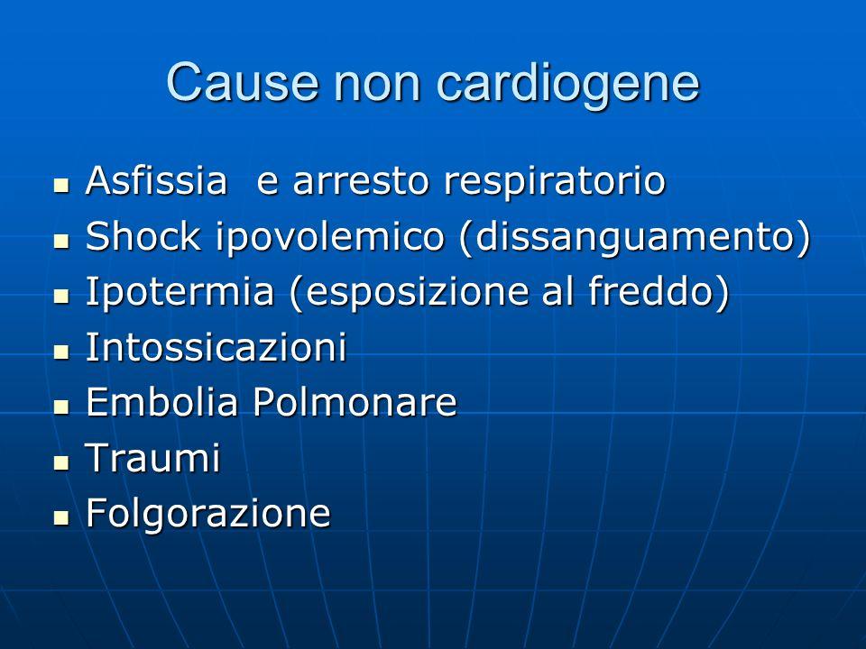 Cause non cardiogene Asfissia e arresto respiratorio Asfissia e arresto respiratorio Shock ipovolemico (dissanguamento) Shock ipovolemico (dissanguame
