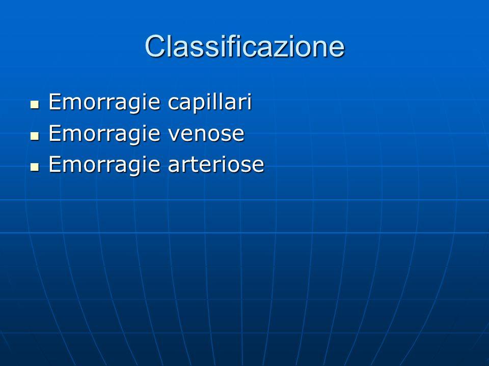 Classificazione Emorragie capillari Emorragie capillari Emorragie venose Emorragie venose Emorragie arteriose Emorragie arteriose