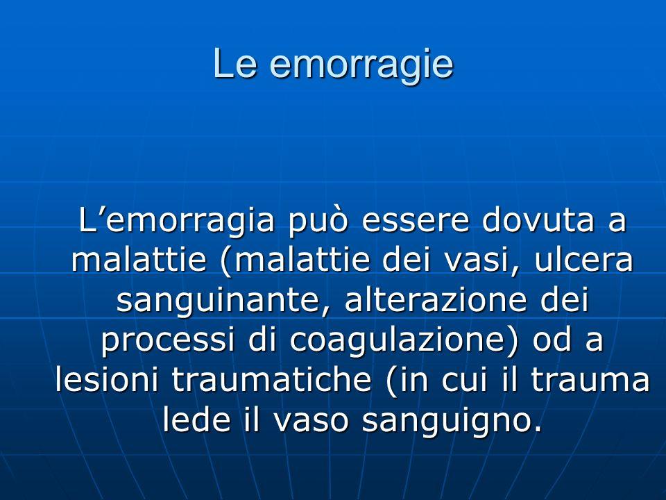 Le emorragie Lemorragia può essere dovuta a malattie (malattie dei vasi, ulcera sanguinante, alterazione dei processi di coagulazione) od a lesioni tr
