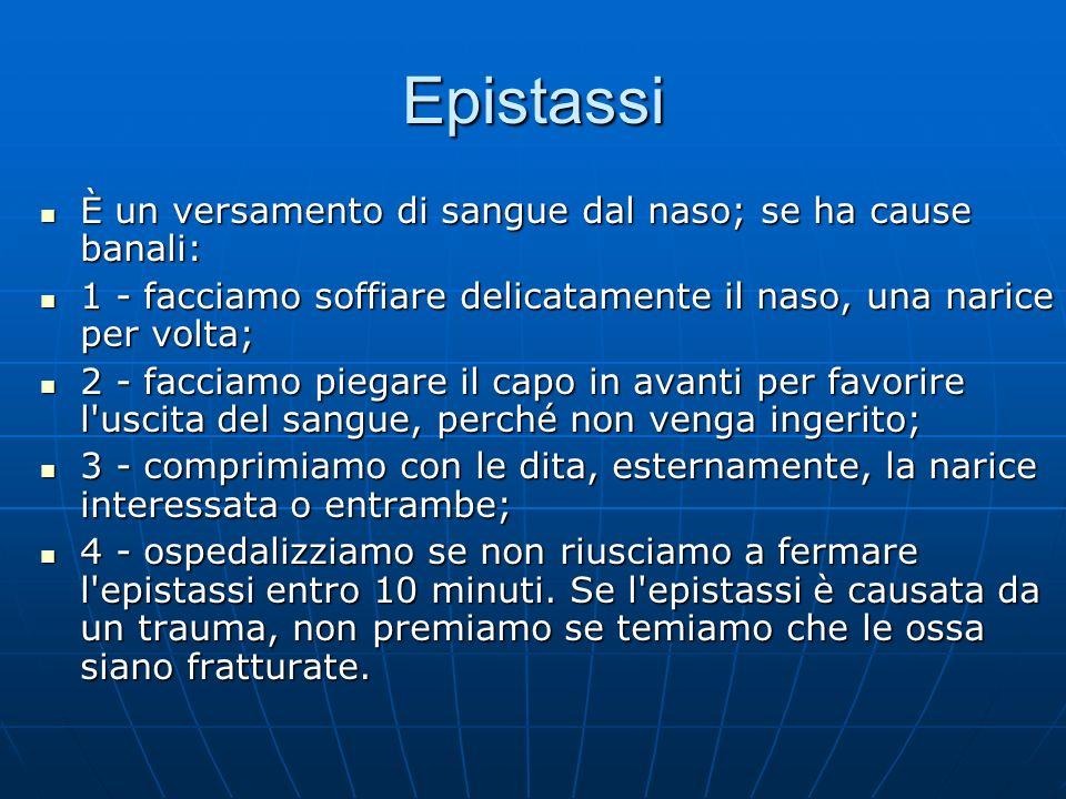 Epistassi È un versamento di sangue dal naso; se ha cause banali: È un versamento di sangue dal naso; se ha cause banali: 1 - facciamo soffiare delica