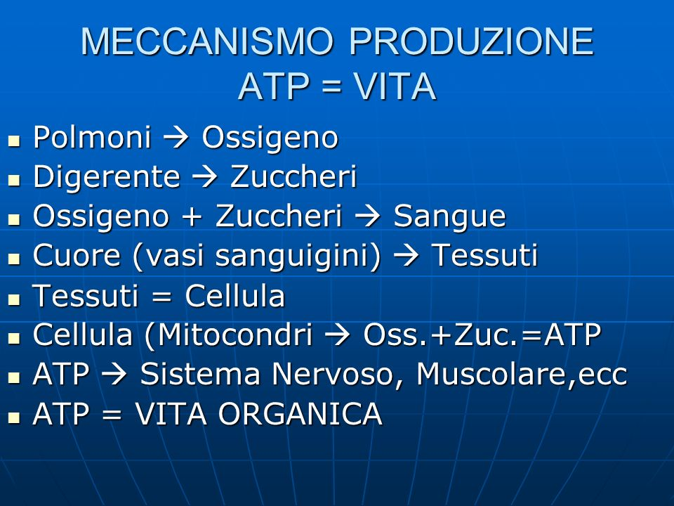 MECCANISMO PRODUZIONE ATP = VITA Polmoni Ossigeno Polmoni Ossigeno Digerente Zuccheri Digerente Zuccheri Ossigeno + Zuccheri Sangue Ossigeno + Zuccheri Sangue Cuore (vasi sanguigini) Tessuti Cuore (vasi sanguigini) Tessuti Tessuti = Cellula Tessuti = Cellula Cellula (Mitocondri Oss.+Zuc.=ATP Cellula (Mitocondri Oss.+Zuc.=ATP ATP Sistema Nervoso, Muscolare,ecc ATP Sistema Nervoso, Muscolare,ecc ATP = VITA ORGANICA ATP = VITA ORGANICA