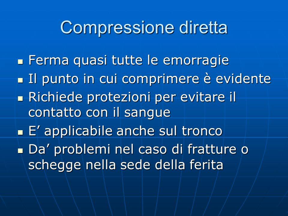 Compressione diretta Ferma quasi tutte le emorragie Ferma quasi tutte le emorragie Il punto in cui comprimere è evidente Il punto in cui comprimere è