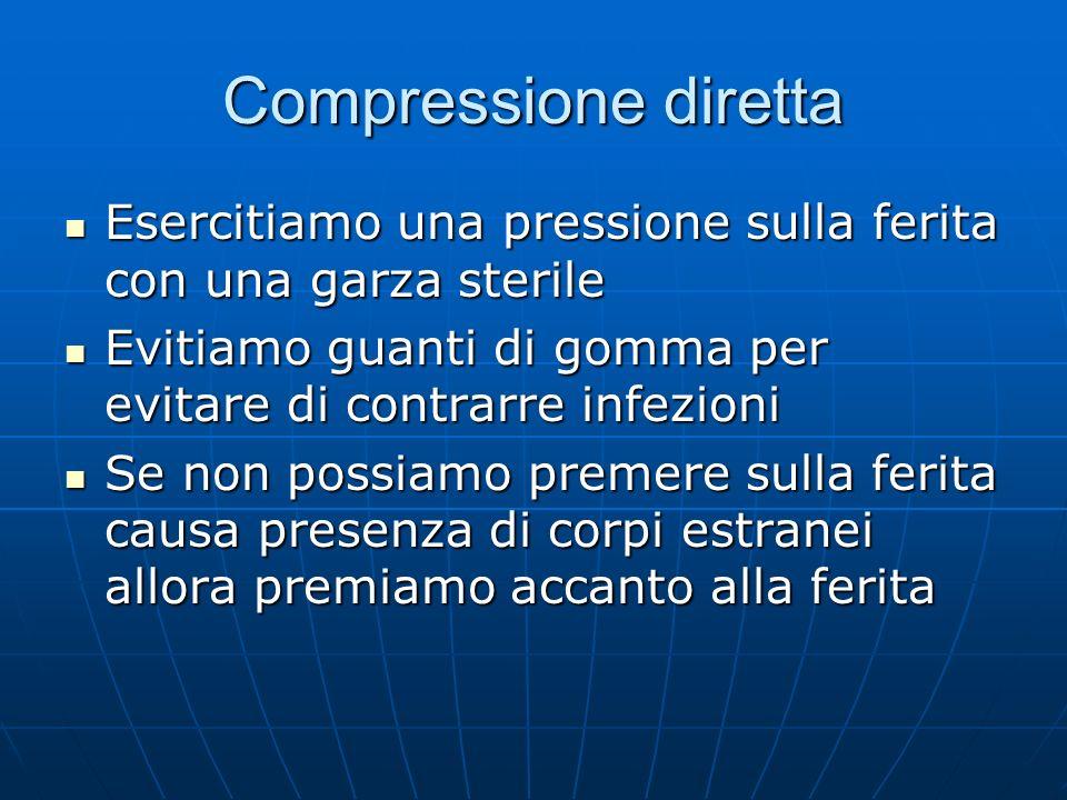 Compressione diretta Esercitiamo una pressione sulla ferita con una garza sterile Esercitiamo una pressione sulla ferita con una garza sterile Evitiam