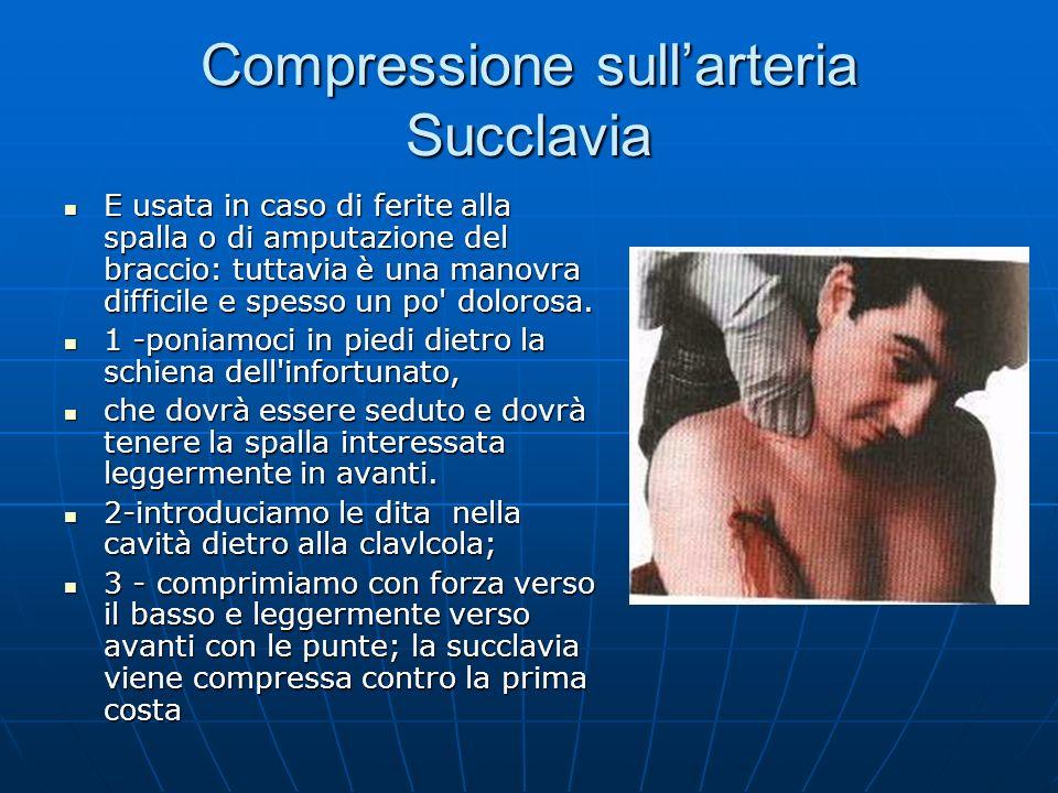 Compressione sullarteria Succlavia E usata in caso di ferite alla spalla o di amputazione del braccio: tuttavia è una manovra difficile e spesso un po