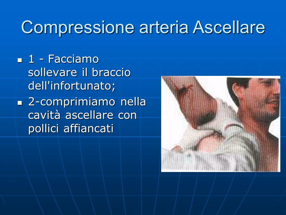 Compressione arteria Ascellare 1 - Facciamo sollevare il braccio dell infortunato; 1 - Facciamo sollevare il braccio dell infortunato; 2-comprimiamo nella cavità ascellare con pollici affiancati 2-comprimiamo nella cavità ascellare con pollici affiancati