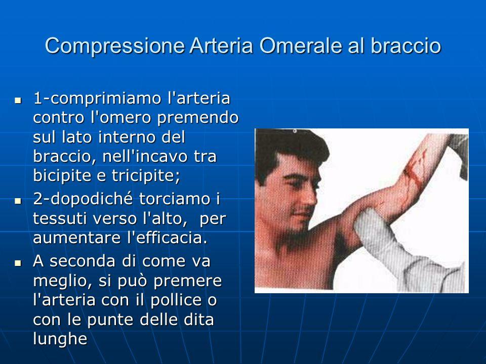 Compressione Arteria Omerale al braccio 1-comprimiamo l arteria contro l omero premendo sul lato interno del braccio, nell incavo tra bicipite e tricipite; 1-comprimiamo l arteria contro l omero premendo sul lato interno del braccio, nell incavo tra bicipite e tricipite; 2-dopodiché torciamo i tessuti verso l alto, per aumentare l efficacia.
