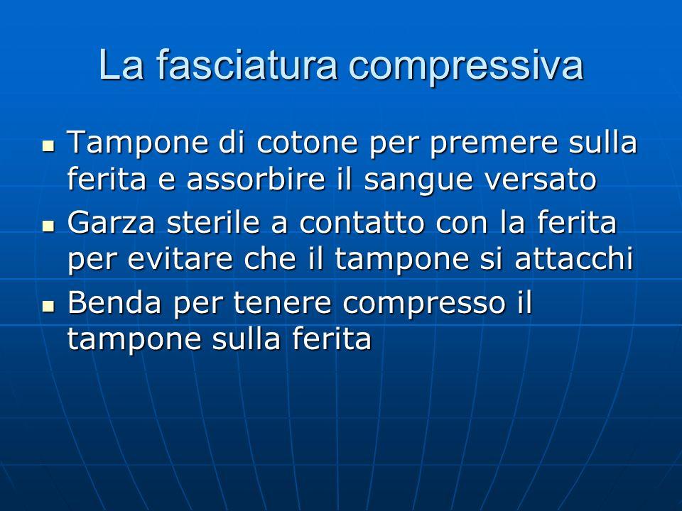 La fasciatura compressiva Tampone di cotone per premere sulla ferita e assorbire il sangue versato Tampone di cotone per premere sulla ferita e assorb