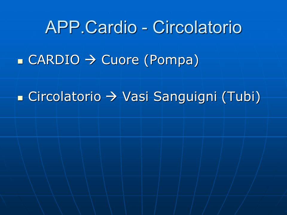 APP.Cardio - Circolatorio CARDIO Cuore (Pompa) CARDIO Cuore (Pompa) Circolatorio Vasi Sanguigni (Tubi) Circolatorio Vasi Sanguigni (Tubi)