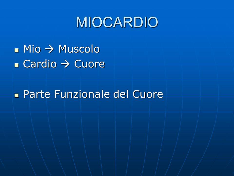 MIOCARDIO Mio Muscolo Mio Muscolo Cardio Cuore Cardio Cuore Parte Funzionale del Cuore Parte Funzionale del Cuore