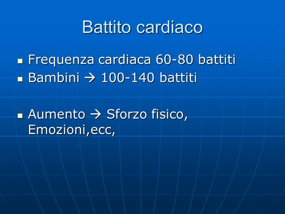 Battito cardiaco Frequenza cardiaca 60-80 battiti Frequenza cardiaca 60-80 battiti Bambini 100-140 battiti Bambini 100-140 battiti Aumento Sforzo fisi
