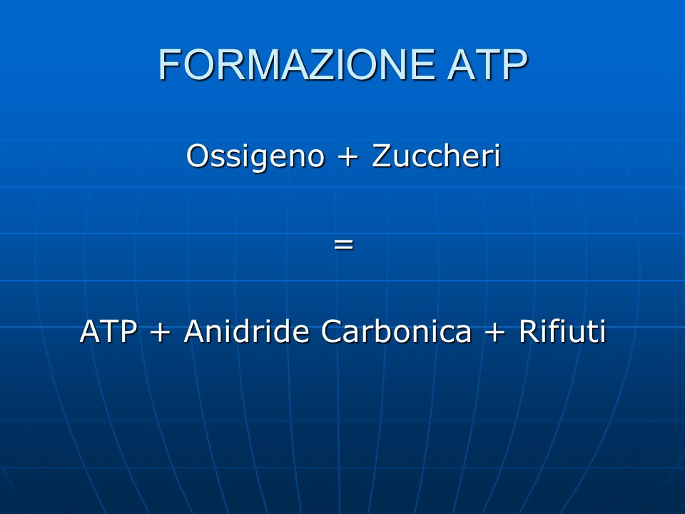 FORMAZIONE ATP Ossigeno + Zuccheri = ATP + Anidride Carbonica + Rifiuti