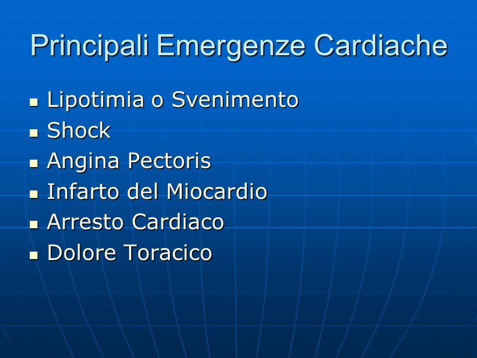 Principali Emergenze Cardiache Lipotimia o Svenimento Lipotimia o Svenimento Shock Shock Angina Pectoris Angina Pectoris Infarto del Miocardio Infarto del Miocardio Arresto Cardiaco Arresto Cardiaco Dolore Toracico Dolore Toracico