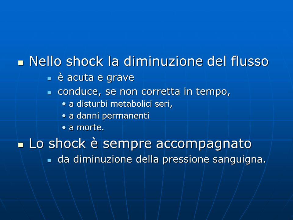 Nello shock la diminuzione del flusso Nello shock la diminuzione del flusso è acuta e grave è acuta e grave conduce, se non corretta in tempo, conduce