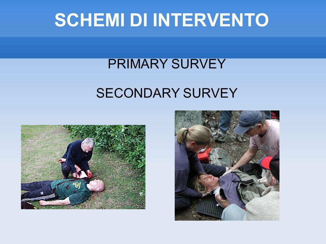 SCHEMI DI INTERVENTO PRIMARY SURVEY SECONDARY SURVEY