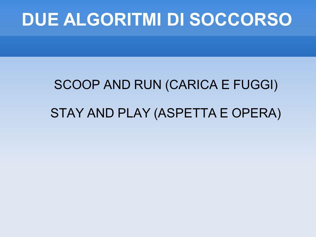 DUE ALGORITMI DI SOCCORSO SCOOP AND RUN (CARICA E FUGGI) STAY AND PLAY (ASPETTA E OPERA)